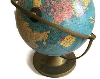 Mid Century Globe World Map Tilting Axis Gold Tone Base Crams Imperial Turquoise Bohemian Wanderlust Meets Retro Home Decor Library Display