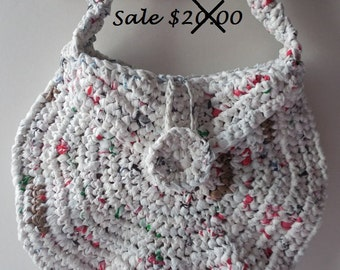 Crochet Purse -  Handmade Crochet - Shoulder Bag - Unusual Purse - Upcycled Purse - Reduced - Clearance - Ready to Ship