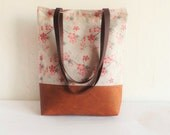 Leather and canvas tote, Casual tote bag, Floral print, real leather handles, real leather strap