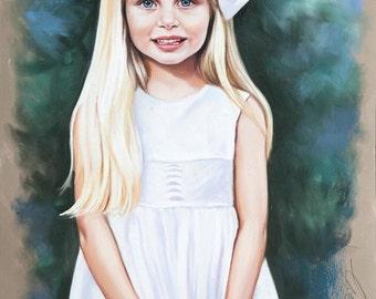 Large size, 3/4 length  Pastel portrait of a girl.