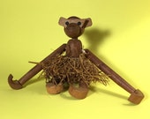 Teak Articulated Monkey, Viking, Zoo-line, Kay Bojesen style, Wooden toy, 1950's