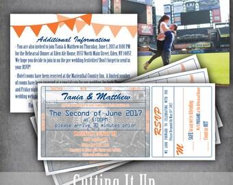 baseball wedding invitation set ticket invitation rsvp ticket stub sports wedding detail - Baseball Wedding Invitations