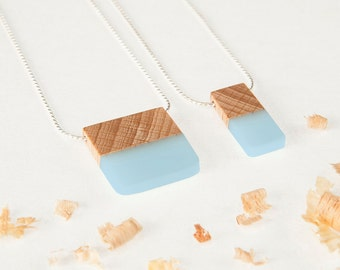Necklace made with wood and cold enamel light blue. Necklace Square or Rectangular