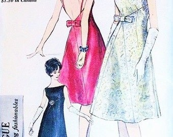 60s Glam Evening Cocktail Dress Pattern VOGUE 5643 Bateau Neck 2 Styles Low V Strappy or Regular B 31 Vintage Sewing Pattern