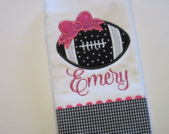 Adorable FOOTBALL Personalized Baby Girl  Burp Cloth