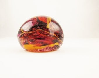Russet Brown and Gold - A Squashed Glass Ball Paperweight - Desk Accessory - Bubbles and Shreds of Color - Collection