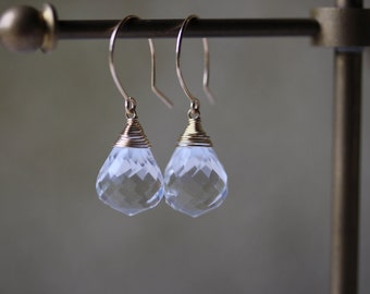 Clear Quartz Drop Earrings in 14K Gold Fill or Sterling Silver