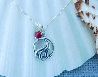 Sterling silver ocean wave necklace, ocean theme, sea life jewelry, ocean swimmers