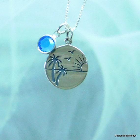 Sterling silver beach scene pendant , ocean jewelry, palm tree charm, wave-maker, surfer jewelry