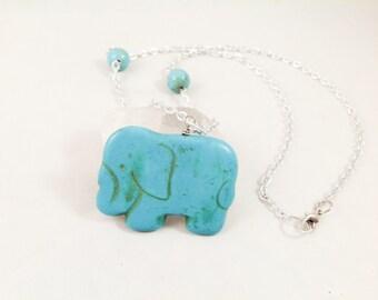 Blue Elephant Howite Stone Necklace