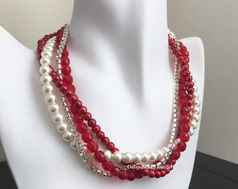 Christmas Jewelry, Party Necklace, Statement Necklace, Red Pearl Necklace, Bridesmaid Necklace, Bridesmaids Jewelry, Multi Strand Necklace