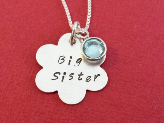 Sister Jewelry / Sister Necklace / Big Sister Necklace / Personalized Jewelry / Birthstone Necklace for Sister / Hand Stamped Jewelry
