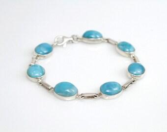 Larimar Stones Bracelet, 8 Inch Bracelet, Anniversary Gift for Her