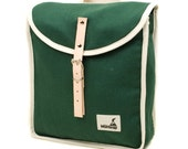 Green Nature Heap Backpack, Retro, Vintage Inspired, Canvas and Leather kids Bag - Kids Backpack