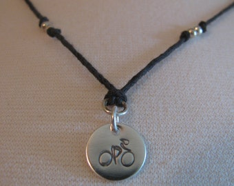 Sterling Silver and Natural Hemp Pendant Necklace Bicycle RAGBRAI Handmade- Toniraecreations