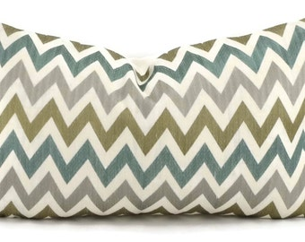 Sale! Turquoise, Gray & Taupe Embroidered Chevron Lumbar Throw Pillow Cover, 12x20