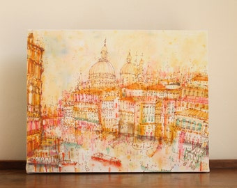 VENICE PAINTING, Grand Canal Sunset, Watercolor Painting, Italy Wall Art, Venice Canvas Home Decor, Venetian Building Sketch Clare Caulfield