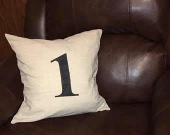 Number stenciled pillow case