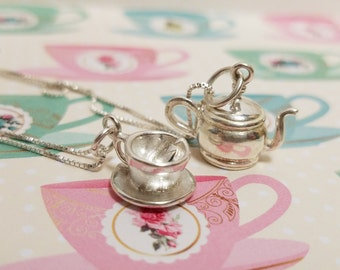 Sterling Silver Teapot and Teacup Necklace Set