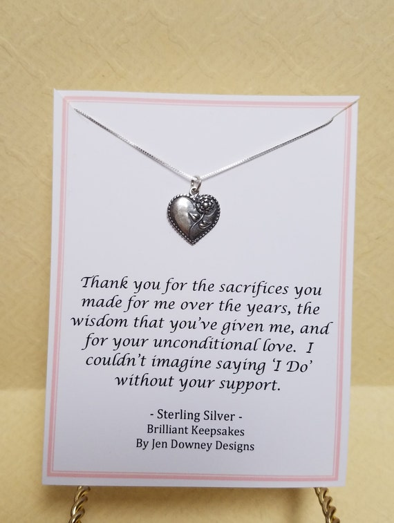 Thank You Wedding Gift For Mom : Thank You Wedding Gift For Mom Of Bride Or Groom Sterling Silver Rose ...