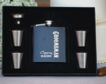 Groomsmen Flasks, 10 Personalized Groomsman Gift Sets, Father of the Groom, Best Man Flask Set, Custom Engraved Stainless Flask Gift Set
