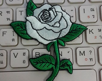 Rose Iron on Patch - White Rose Applique Embroidered Iron on Patch