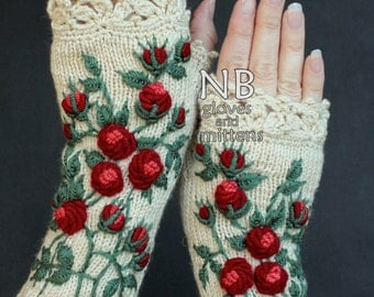 Knitted Fingerless Gloves, Roses, Ivory, Long,Clothing And Accessories,Gloves & Mittens,Gift Ideas,
