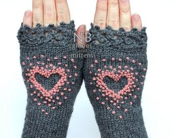 Knitted Fingerless Gloves, Heart, Gloves & Mittens, Gift Ideas, Dark Grey, Rose, Pink,