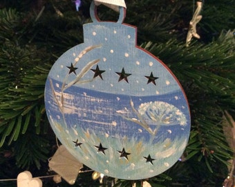 SALE ~Hand painted Christmas bauble..Decoration/winter/snow/Coast/seascape.