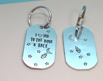 I love you to the moon and back aluminum keychain
