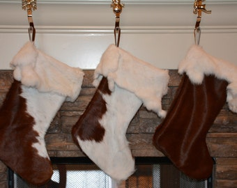 Hair-on Cowhide Leather Christmas Stockings