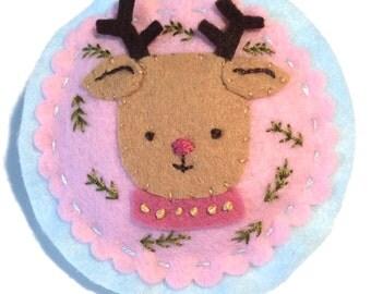 Rudolph the Reindeer Felt Ornament: Hand Sewn Christmas decor