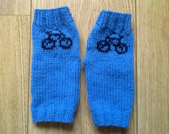 Wrist warmers with bicycle bike motifs -  fingerless mittens - gloves