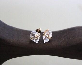 Herkimer Diamond Studs, Raw Quartz Studs, Herkimer Diamond, Herkimer Earrings, Diamond earrings, Earrings