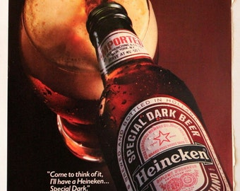 1985 Heineken Special Dark Beer Ad - Wall Art - Home Decor - Garage - Bar - Man Cave  - Retro Vintage Beer & Liquor Advertising