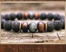 Men's Bracelet Mala // Lava Stone & Black Moonstone // Healing Yoga Mala Bracelet, Men's Yoga Bracelet, Mala Beads, Men's Bead Bracelet, Eco