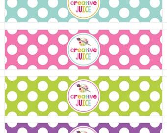 Creative Juice Bottle Wraps - Art Party Water Bottle Labels - Printable Art Party Juice Wraps INSTANT DOWNLOAD