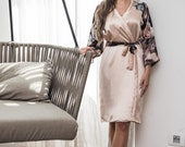 Floral Silk Robe / Blush Silk Robe / Floral Satin Kimono / Bridal Robe / Powder Satin Robe / Silk Bride Robe