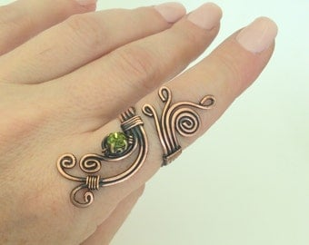 copper wire with green crystal stone ring wire wrapped jewelry handmade copper wire jewelry