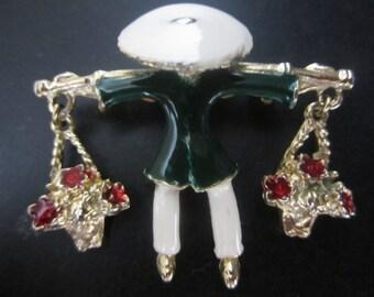 Vintage Costume Jewelry Oriental Flower Seller Brooch