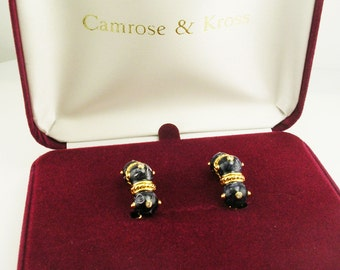 Jackie Kennedy Clip On Earrings with Blue Glass Beads, Crystals, Box and COA
