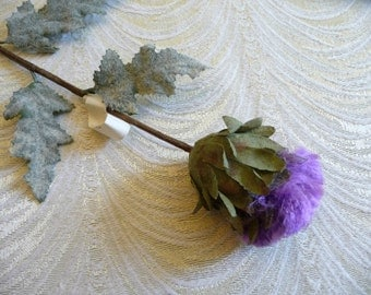 Vintage Millinery Thistle Large Purple Flower with Leaves NOS from Germany for Hats Crafts Scottish Bouquet 2FV0087PU