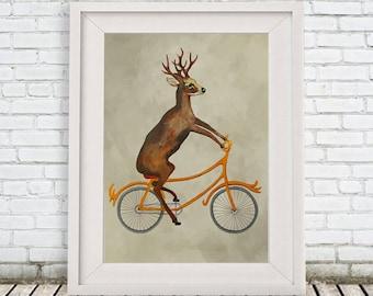 Deer Print, Antler, Stag, Deer Art, Deer Art Print, Deer Artwork, Wall Decor, Wall Art, Deer Wall Hanging, 8x10,Gift For Men,Deer on Bicycle