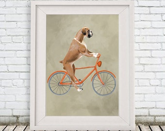 Woodland Boxer Print, Boxer Illustration Art Poster Acrylic Painting Kids Decor Drawing Gift, Dog on bicycle, bicycle print, boxer dog
