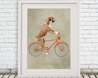 Woodland Boxer Print, Boxer Illustration Art Poster Acrylic Painting Kids Decor Drawing Gift, Dog on bicycle, bicycle print, boxer dog