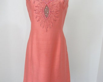 Early 1960s Coral Dress with Sheer Eyelets, Hand Beadwork and Rhinestones
