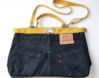 bag black and yellow vintage levis