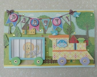 Very Sweet Large 3D *Circus Train* Handmade Birthday Card by Christine with matching envelope & gift tag