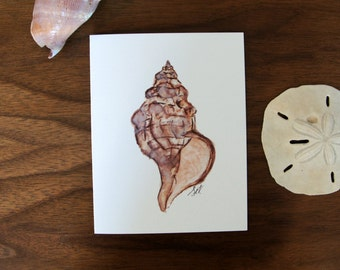 Set of 10 Watercolor Seashell Note Cards