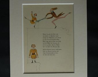 1920s Antique Children's Print from Struwwelpeter, Sinister Fairy Tale Decor, Available Framed, Creepy Art Dark Nursery Rhyme Gift for Child